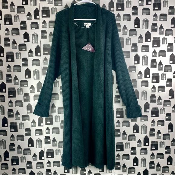 Ava & Viv | NWT Women's Green Long Knit Cardigan